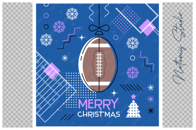 Abstract Christmas sports greeting card. American Football.