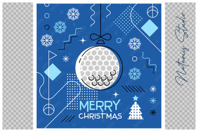 Abstract Christmas sports greeting card. Golf.