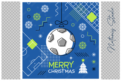 Abstract Christmas sports greeting card. Soccer.