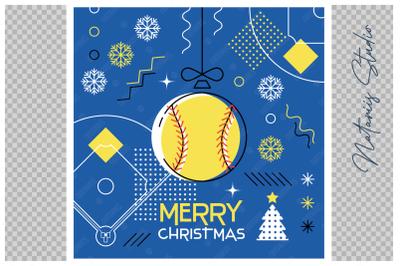 Abstract Christmas sports greeting card. Softball.
