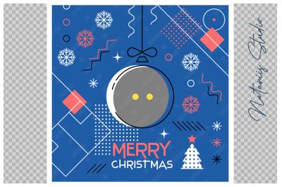 Abstract Christmas sports greeting card. Squash.