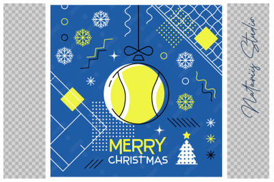 Abstract Christmas sports greeting card. Tennis.