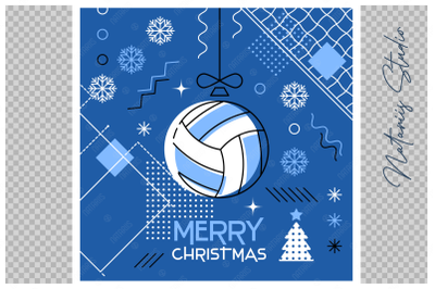 Abstract Christmas sports greeting card. Volleyball.
