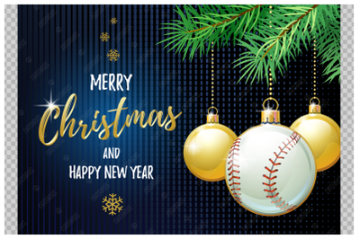 Merry Christmas and Happy New Year. Baseball.