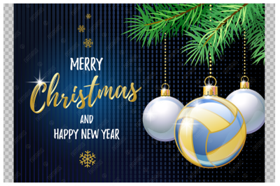 Merry Christmas and Happy New Year. Beach Volleyball.
