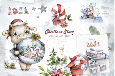 Christmas Story with Cute Bull's