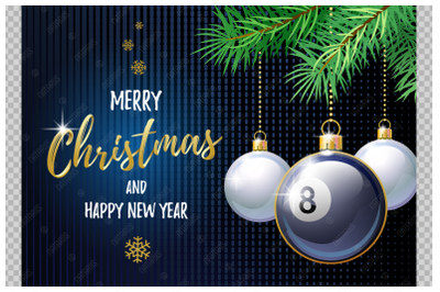 Merry Christmas and Happy New Year. Billiard.