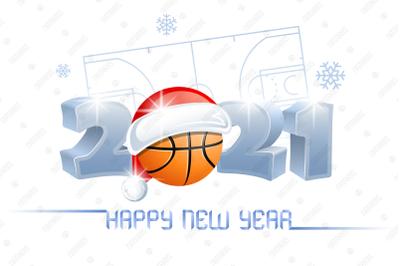 2021. Happy New Year! Basketball.