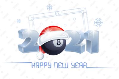 2021. Happy New Year! Billiard.