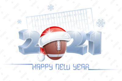 2021. Happy New Year! Football.