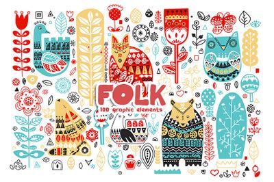 Folk. Graphic set of folk elements