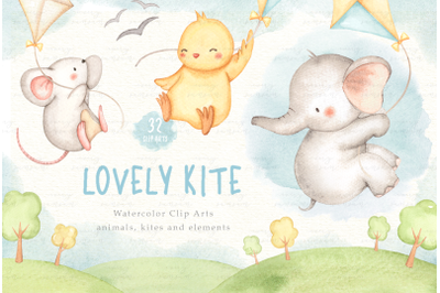 Lovely Kite Watercolor Clip Arts