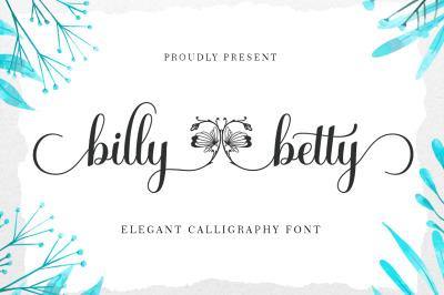 billy betty elegant Calligraphy font