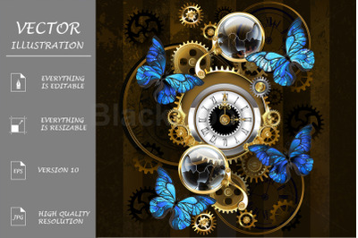 Steampunk Gears and Blue Butterflies