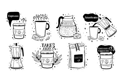 Coffee set menu.Hand drawn doodle style.