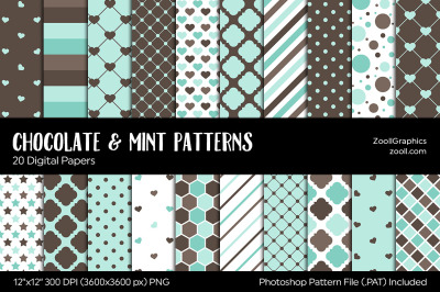 Chocolate And Mint Digital Papers