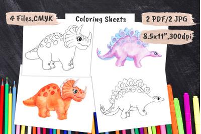 Dinosaur Kids Coloring Book Pages PDF&2C; JPEG
