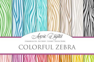 Colorful Zebra Digital Papers