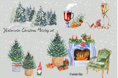 Watercolor Christmas clipart scene creat
