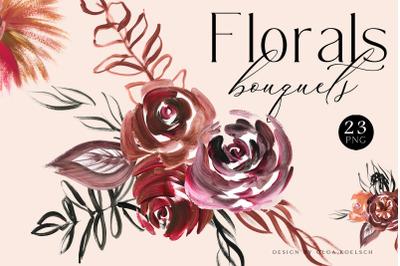 Boho Roses bouquets clipart, Burgundy flower clipart, Modern acrylic
