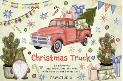 Christmas Truck Gnome Tree Sweets Garland Star Winter Clipart