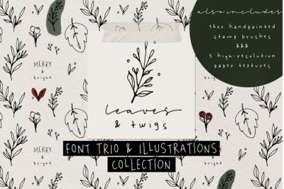 Leaves and Twigs font trio + extras