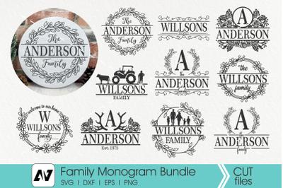 Family Monogram Svg Bundle, Family Porch Sign Svg, Family Svg