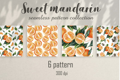 Seamless watercolor pattern with bright mandarin. 6 pattern