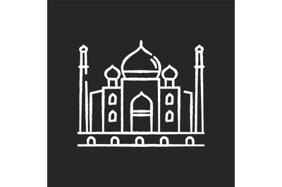 Taj Mahal chalk white icon on black background