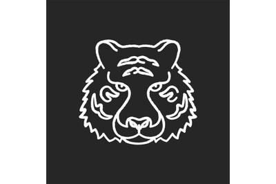Bengal tiger chalk white icon on black background