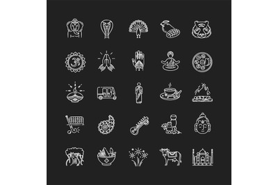 Indian culture chalk white icons set on black background