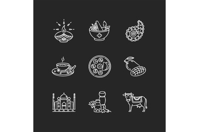Indian traditions chalk white icons set on black background