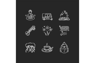 Indian customs chalk white icons set on black background