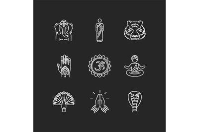 Indian spiritual symbols chalk white icons set on black background