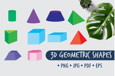 3D geometric shapes, clip art png