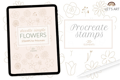 Flowers procreate stamps, line art flowers brushes. Doodle stamps, bot