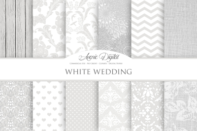 White Wedding Digital Papers