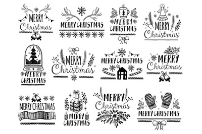 Merry Christmas doodle style collection.