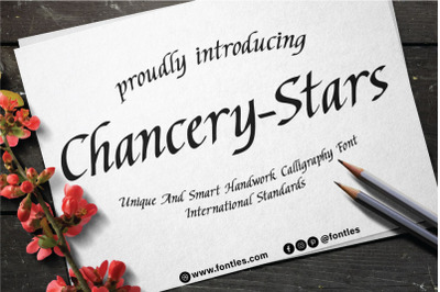Chancery-Stars a flowing Calligraphy font