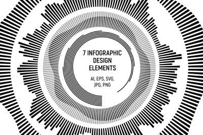 Round infographic design elements