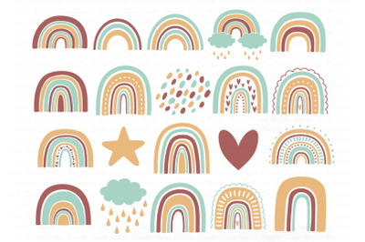 Rainbow SVG, Rainbows Terracotta SVG Cut Files, Rainbow Clipart.