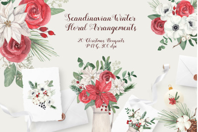 Scandinavian Winter Floral Arrangements. Christmas Bouquets Watercolor