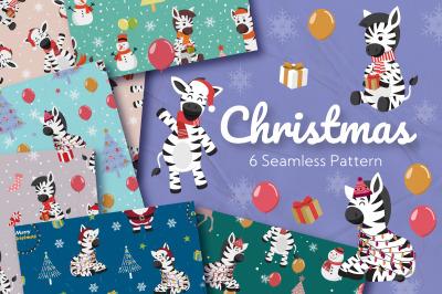 Christmas Zebra Seamless Pattern