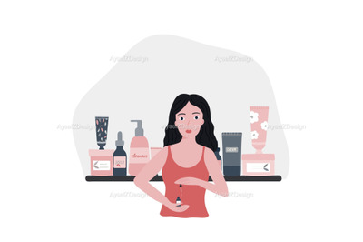 Young woman doing her skincare routine. Natural cosmetic products.