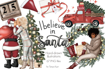 I Believe In Santa Clipart & Pattern