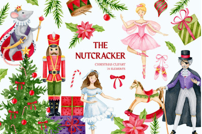 Nutcracker watercolor clipart Christmas Winter clipar