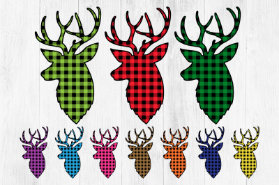 Buffalo Plaid Deer Clipart, Lumberjack Deer Clipart, Reindeer
