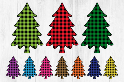 Buffalo Plaid Christmas Tree Clipart, Lumberjack Style