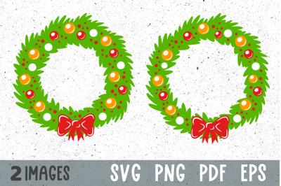 Christmas wreath svg Christmas svg files for cricut Christmas clipart