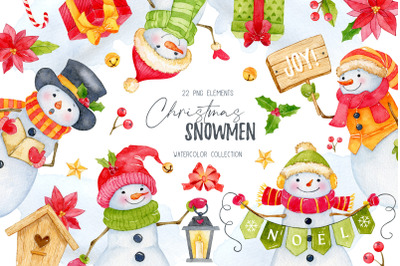 Watercolor christmas clipart, Snowman clipart, Christmas PNG